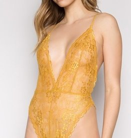 Starting Over Bodysuit- Mustard Gold