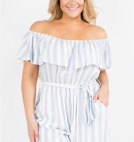 Let My Heart Glow Romper- Blue