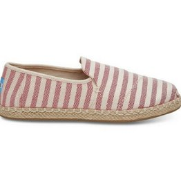 TOMS Women's Deconstructed Alpargata- Red Woven Stripe