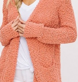 Let's Cuddle Popcorn Knit Cardigan- Rust