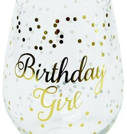 Stemless Wine Glass- Birthday Girl