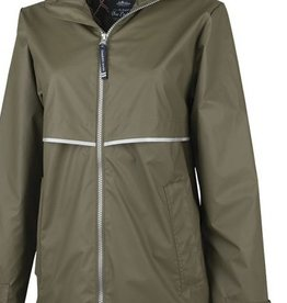 CHARLES RIVER New Englander Rain Jacket W/Print Lining- Olive