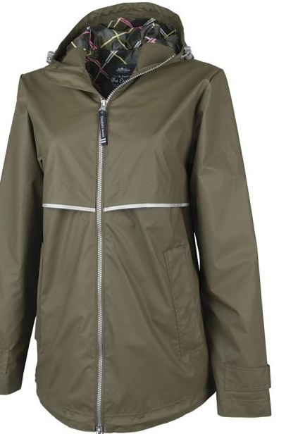 CHARLES RIVER New Englander Rain Jacket W/Print Lining- Olive