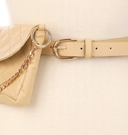 Keeping You Close Side Patch Belt - Beige