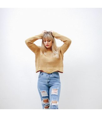 OPEN KNIT CROPPED SWEATER