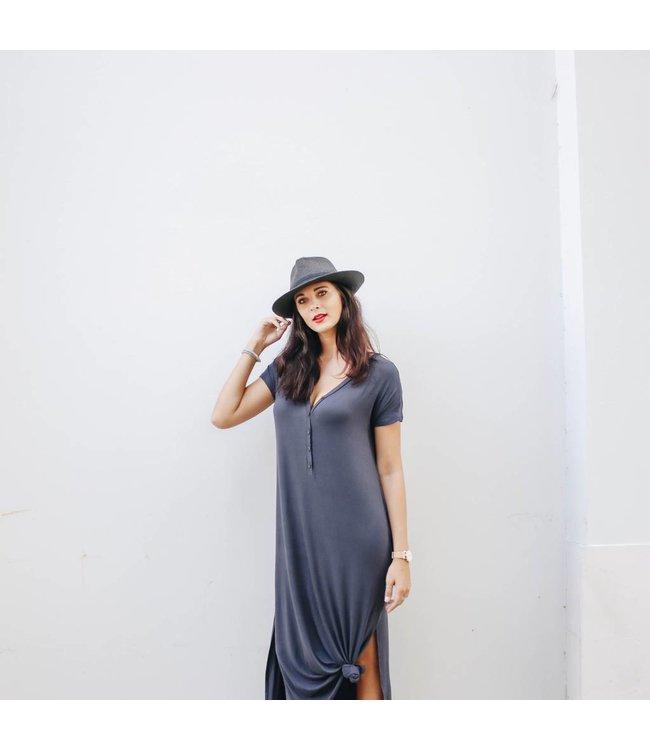 BUTTON T-SHIRT MAXI DRESS