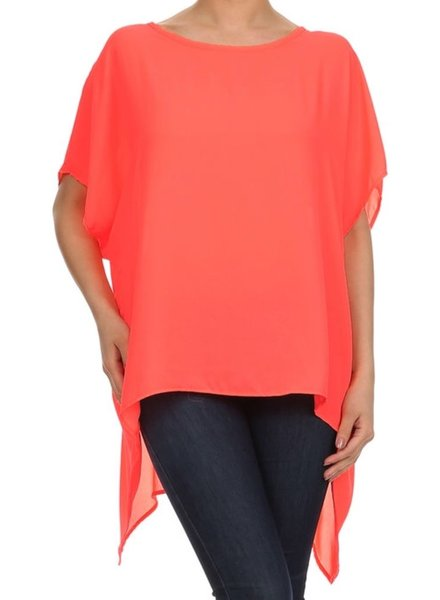 solid color, dolman sleeve, asymmetric, oversize blouse.