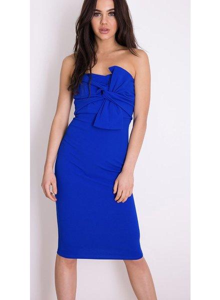 Knot Front Strapless Midi Dress