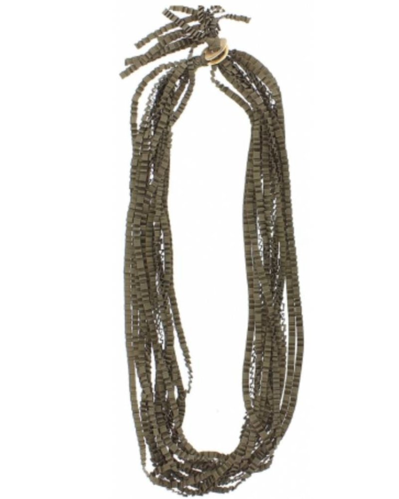 Collar largo multi fila cinta raso rizado