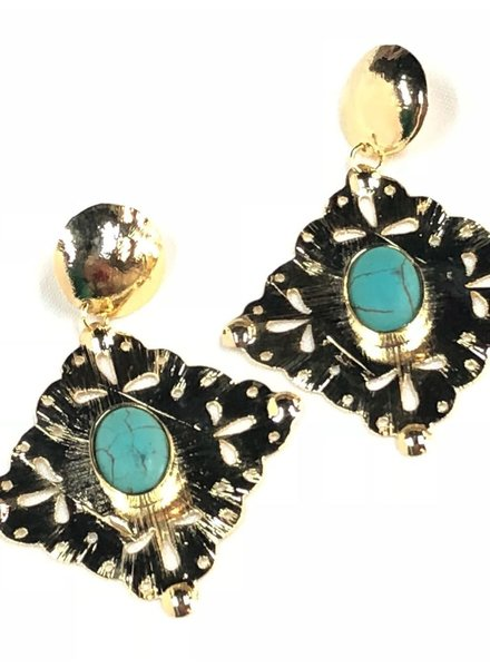 Gold earrings with Turquoise18k
