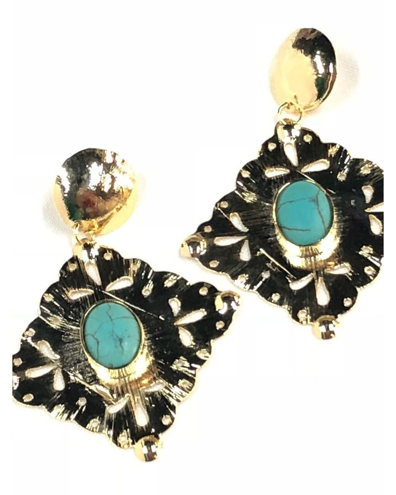 Gold earrings with Turquoise<br /> 18k