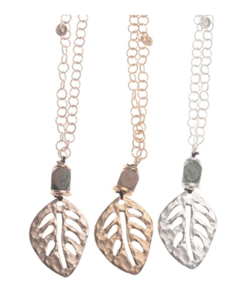 Collar largo cadena colgante hoja metal