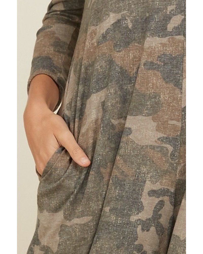 Camo V-Neck Hoodie Full Length Jumpsuit