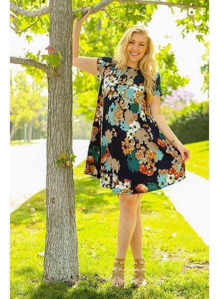 Multi Floral Printed Swing Tunic Dress
