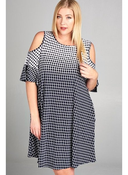 Ombre Printed Open Shoulder Dress