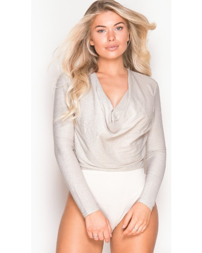 Cowl Neck Long Sleeve Bodysuit