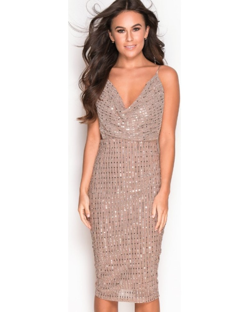 Cowl Neck Strappy Sequin Midi Dress Mocha