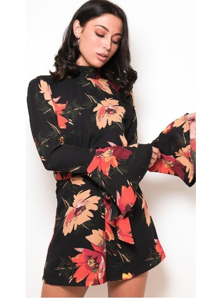 Floral High Neck Flute Sleeve Promper