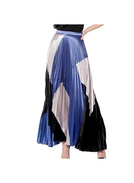 Colorblock Patched Pleats Skirt