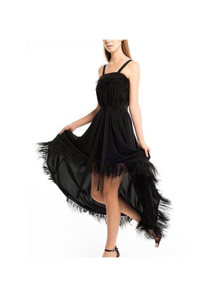 Feather Trimmed Off-Shoulder Dress