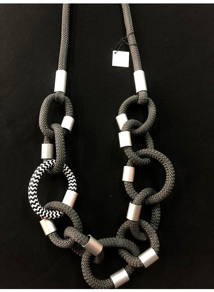 Necklace anodixed aluminium/cord
