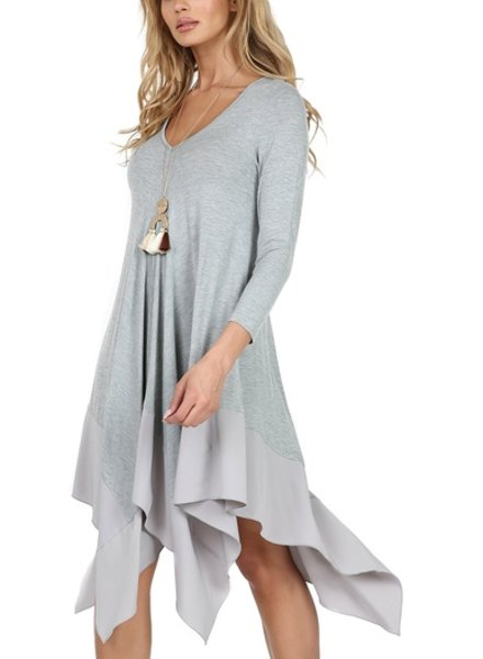 Long sleeve basic rayon dress w