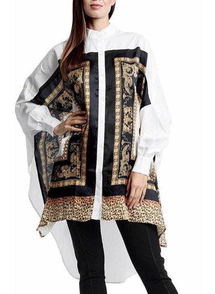 Leopard Printing Side-slit Shirt Top