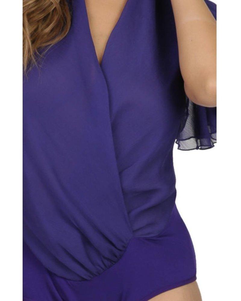 2 layer ruffle sleeve surplice front bodysuit