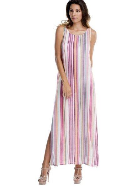 Rainbow Stripes Long Slit Dress