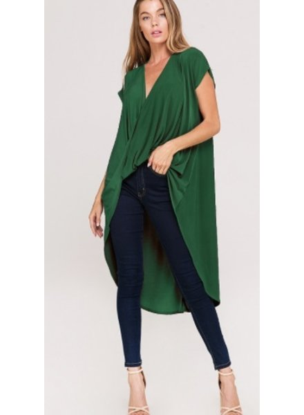 draped crossover top with a high low
