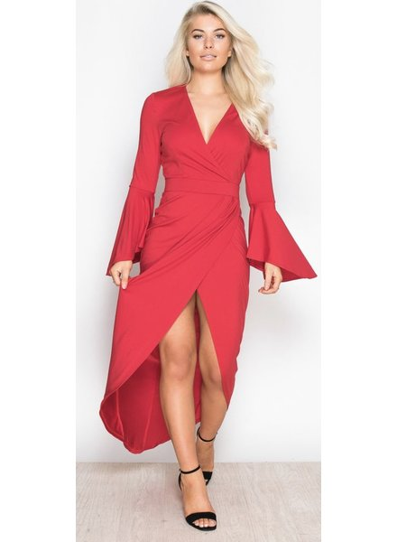 Wrap Flute Sleeve Maxi Dress Red