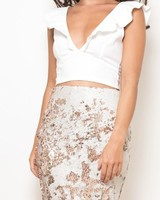 Double Sequin Midi Skirt White & Rose