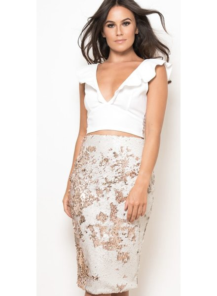Double Sequin Midi Skirt White & Rose