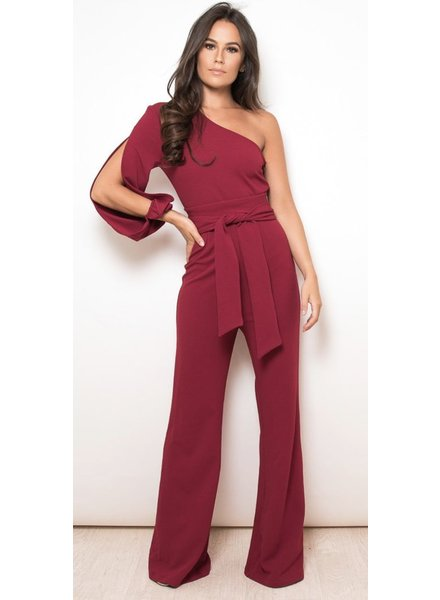 One Sleeve Wide Leg Jumpsuit Wine