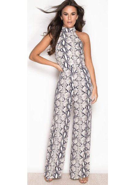 High Neck Sleeveless Jumpsuit Snake Print