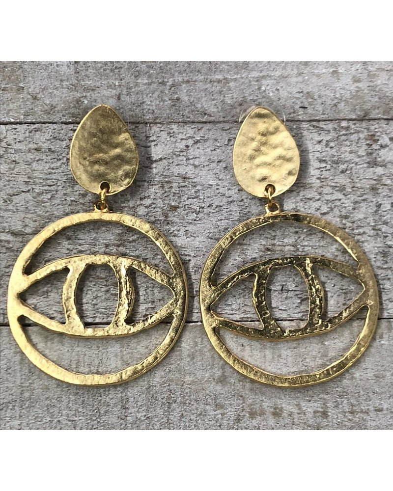 eye earrings <br /> Gold Plated