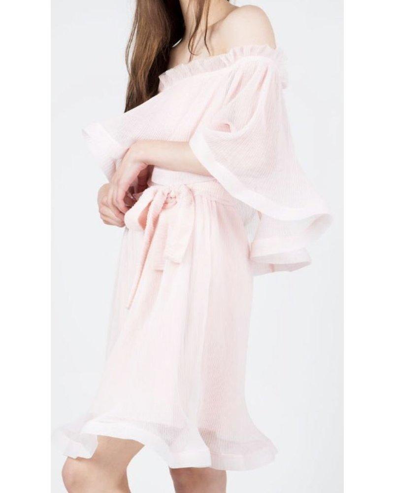 off-shoulder woven mini-dress