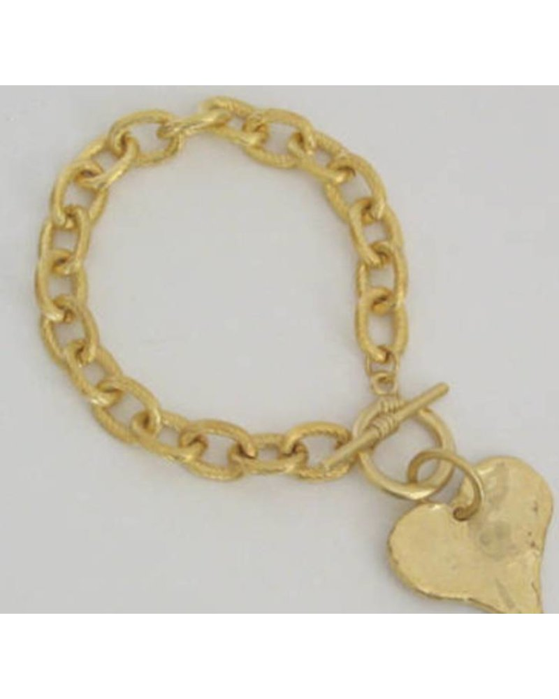 Handcast Silver or Gold  Heart Bracelet