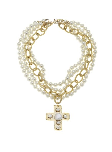 Handcast Gold Cross with freshwater and coin pearls Necklace.