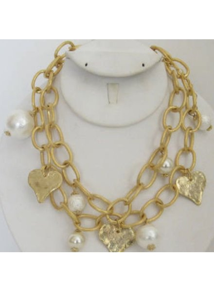 Handcast Gold Heart & Cotton Pearl Necklace