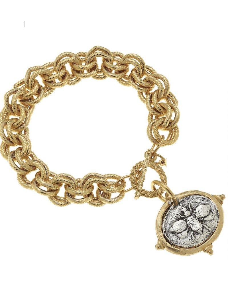 "Handcast Gold & Silver Italian Intaglio ""Bee"" Bracelet"