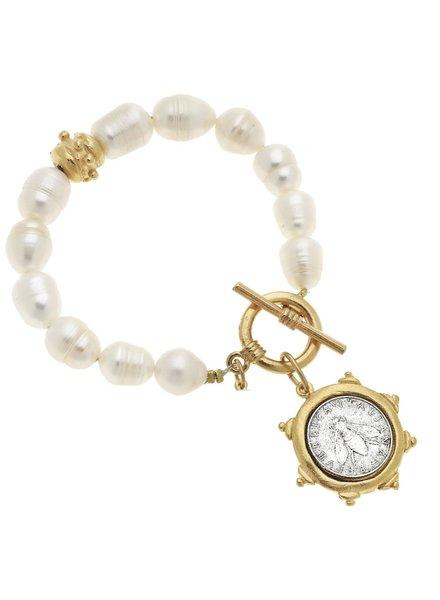 Handcast Gold/Silver Bee Italian Coin on Genuine Freshwater Pearl Bracelet