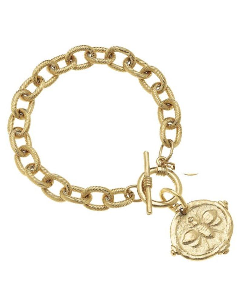 "Handcast Gold ""Bee"" Intaglio Bracelet."