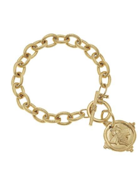 "Handcast Gold Intaglio ""Bee"" Bracelet."