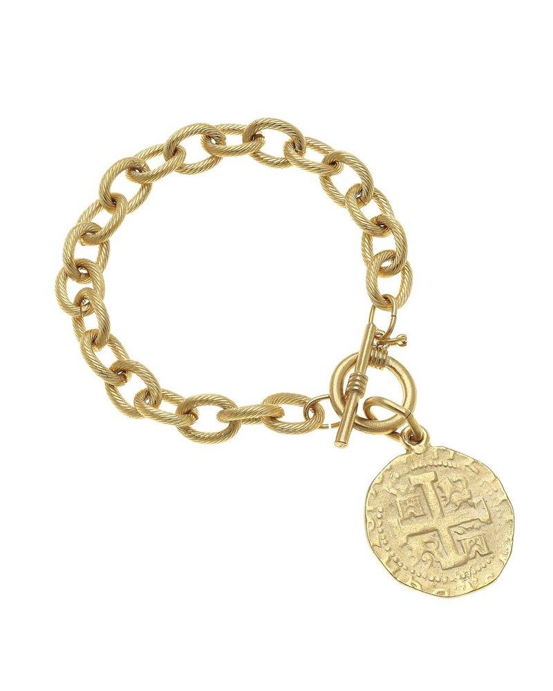Handcast Gold Coin Bracelet