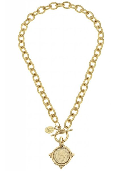 """Handcast Gold Intaglio """"Coin"""" Front Toggle Necklace."""