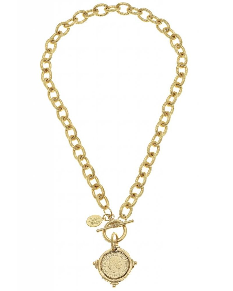 "Handcast Gold Intaglio ""Coin"" Front Toggle Necklace."