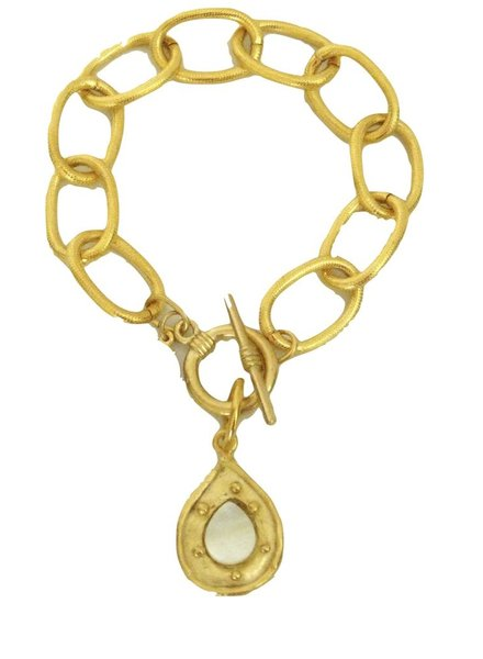 Handcast Gold Teardrop with Genuine Mother of Pearl Stone Bracelet