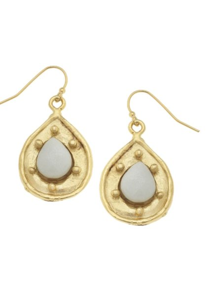 Handcast Gold Teardrop with Genuine Amazonite Stone Earrings