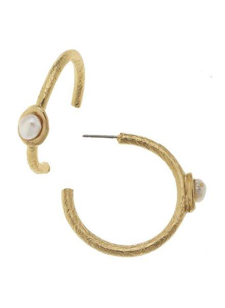 Genuine Freshwater Pearl on Hoop Earrings